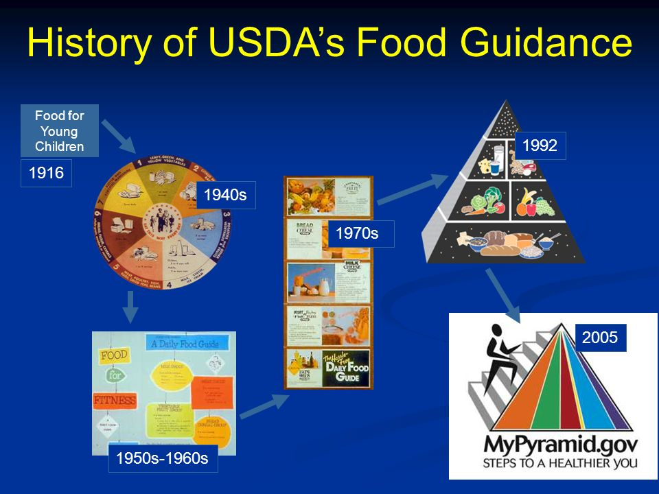History of USDAs Food Guidance 1940s 1950s-1960s 1970s 1992 2005 Food for Young Children 1916