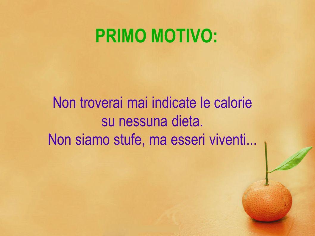 PRIMO MOTIVO: Non troverai mai indicate le calorie su nessuna dieta. Non siamo stufe, ma esseri viventi...