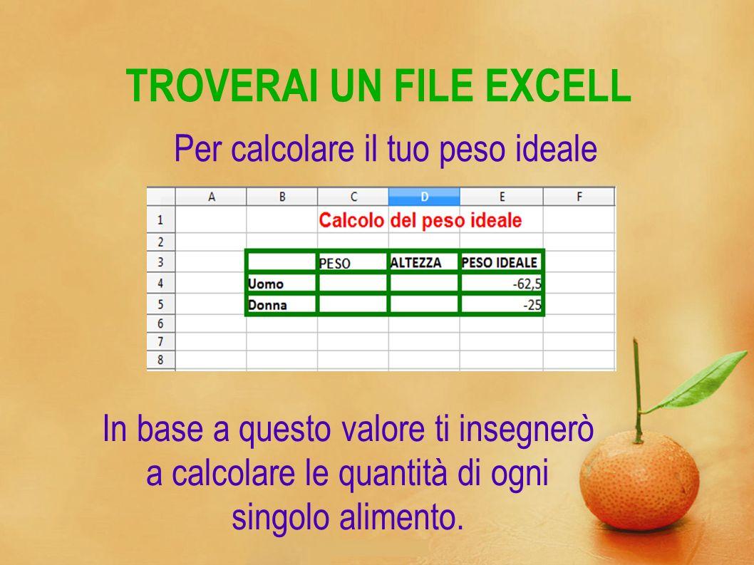 TROVERAI UN FILE EXCELL Per calcolare il tuo peso ideale In base a questo valore ti insegnerò a calcolare le quantità di ogni singolo alimento.