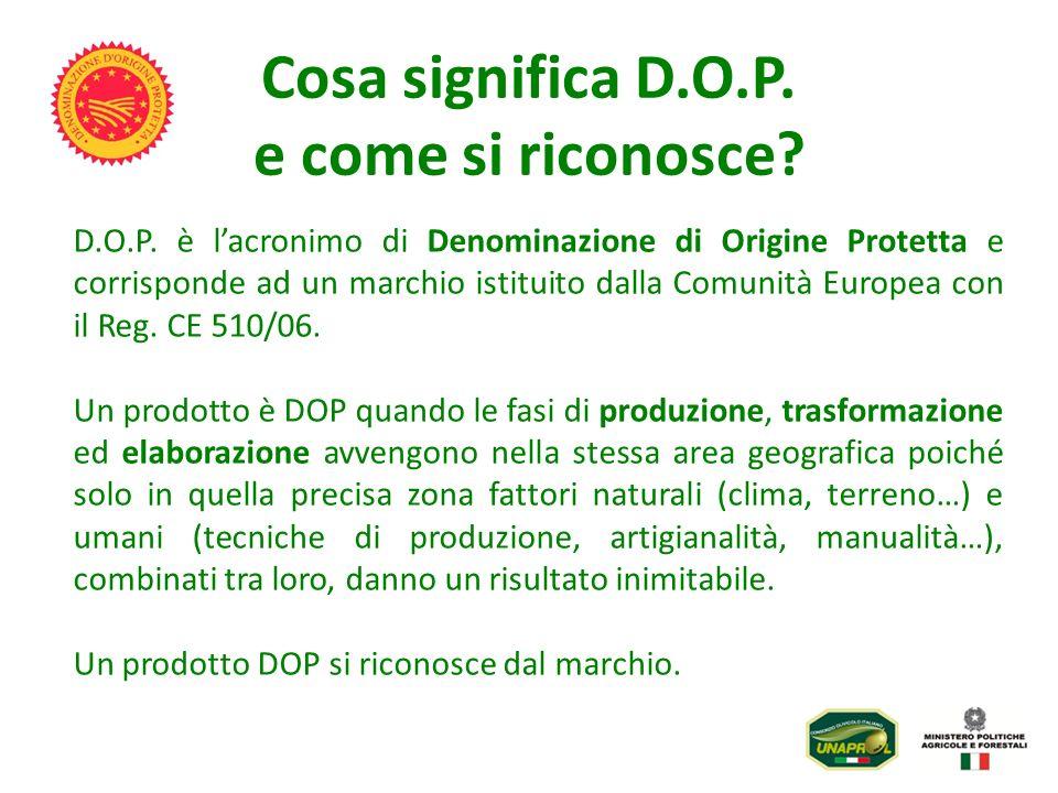 Cosa significa D.O.P. e come si riconosce? D.O.P. è lacronimo di Denominazione di Origine Protetta e corrisponde ad un marchio istituito dalla Comunit