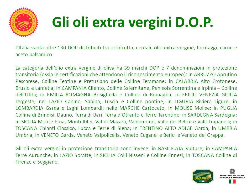 Gli oli extra vergini D.O.P. LItalia vanta oltre 130 DOP distribuiti tra ortofrutta, cereali, olio extra vergine, formaggi, carne e aceto balsamico. L