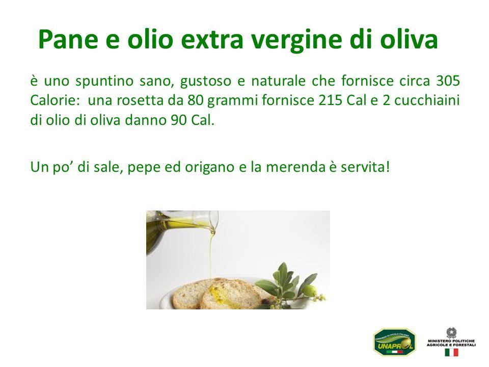è uno spuntino sano, gustoso e naturale che fornisce circa 305 Calorie: una rosetta da 80 grammi fornisce 215 Cal e 2 cucchiaini di olio di oliva dann