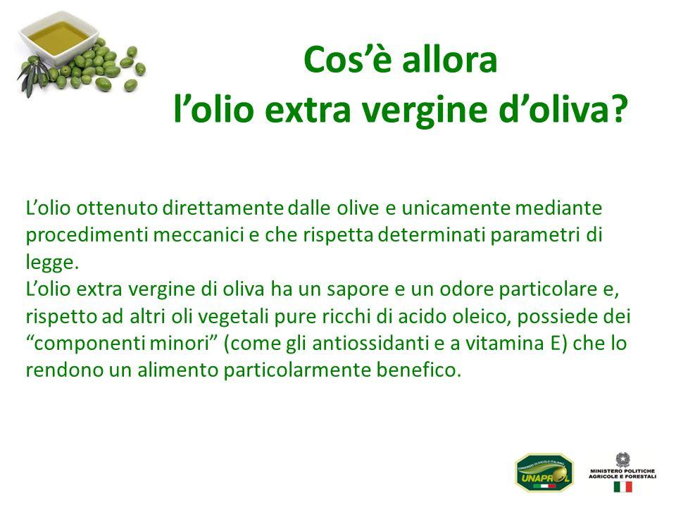 Lolio ottenuto direttamente dalle olive e unicamente mediante procedimenti meccanici e che rispetta determinati parametri di legge. Lolio extra vergin