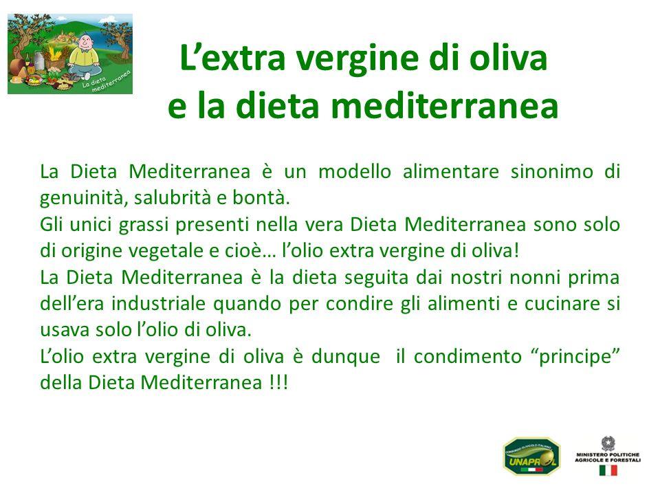 Lextra vergine di oliva e la dieta mediterranea La Dieta Mediterranea è un modello alimentare sinonimo di genuinità, salubrità e bontà. Gli unici gras
