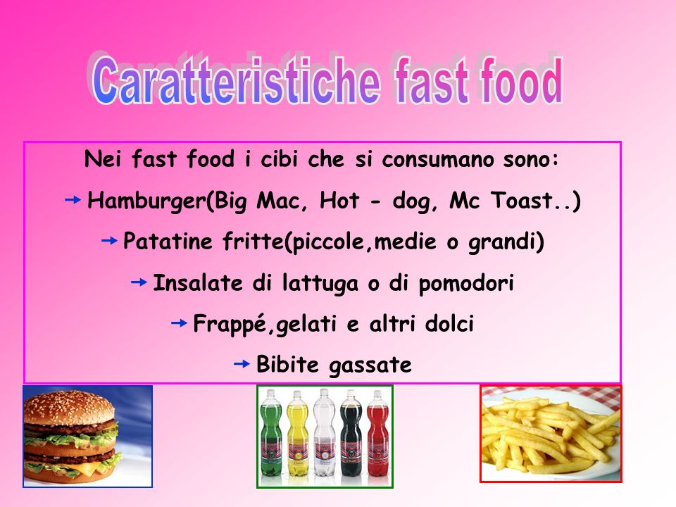 Nei fast food i cibi che si consumano sono: Hamburger(Big Mac, Hot - dog, Mc Toast..) Patatine fritte(piccole,medie o grandi) Insalate di lattuga o di