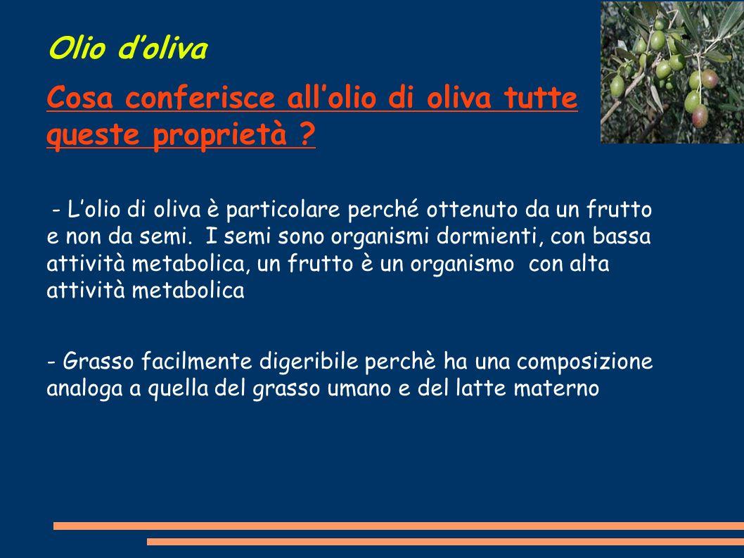 Olio doliva Cosa conferisce allolio di oliva tutte queste proprietà ? - Lolio di oliva è particolare perché ottenuto da un frutto e non da semi. I sem