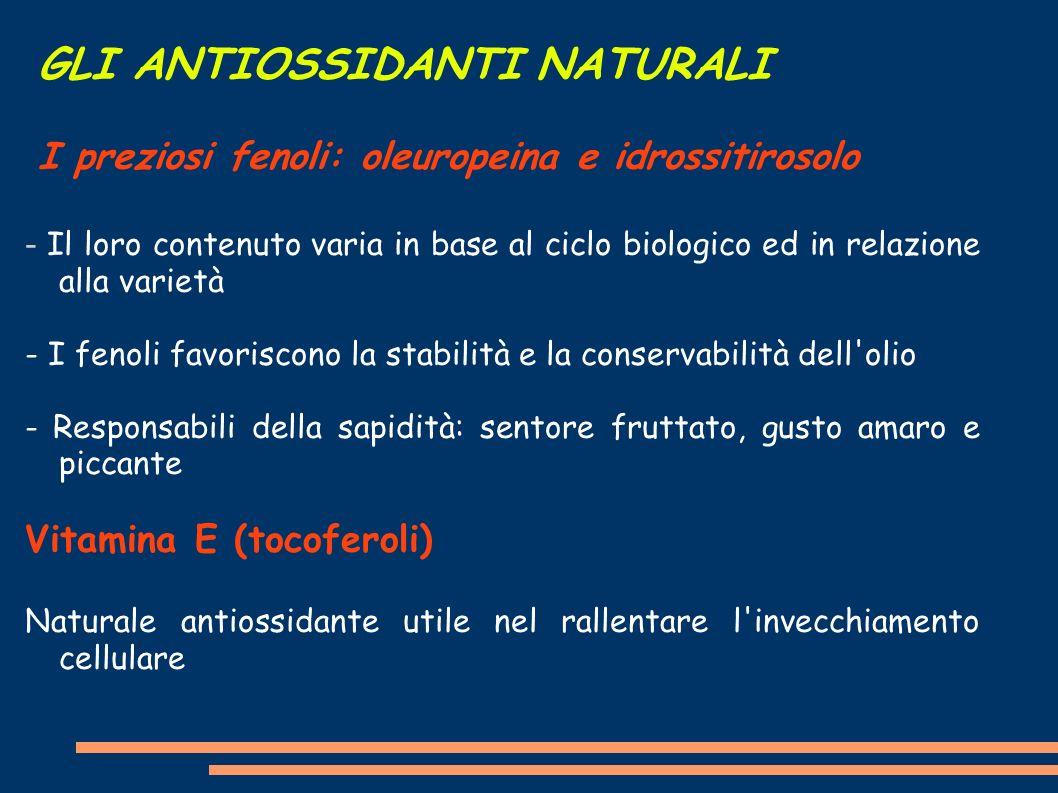 GLI ANTIOSSIDANTI NATURALI I preziosi fenoli: oleuropeina e idrossitirosolo - Il loro contenuto varia in base al ciclo biologico ed in relazione alla