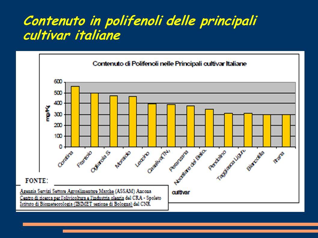 Contenuto in polifenoli delle principali cultivar italiane