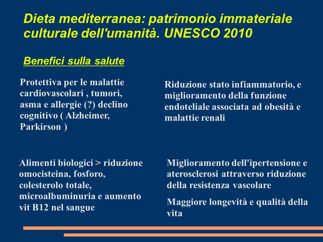 Dieta mediterranea: patrimonio immateriale culturale dell'umanità. UNESCO 2010 Benefici sulla salute Protettiva per le malattie cardiovascolari, tumor