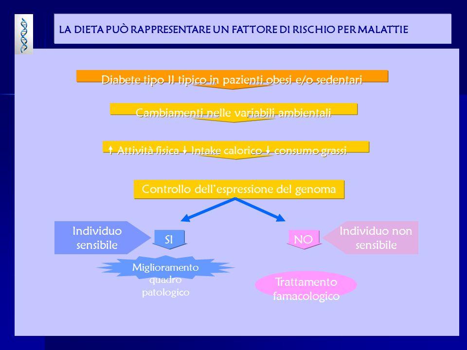 Diabete tipo II tipico in pazienti obesi e/o sedentari Cambiamenti nelle variabili ambientali Attività fisica Intake calorico consumo grassi Controllo dellespressione del genoma Miglioramento quadro patologico Individuo sensibile Trattamento famacologico Individuo non sensibile SI NO