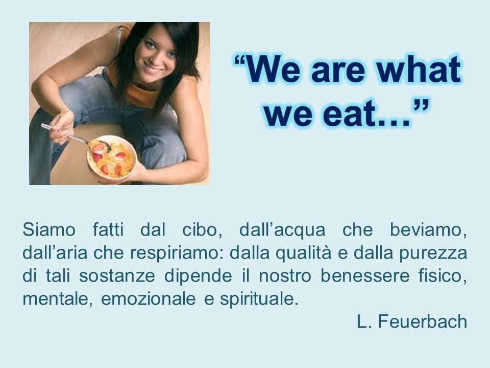 Siamo fatti dal cibo, dallacqua che beviamo, dallaria che respiriamo: dalla qualità e dalla purezza di tali sostanze dipende il nostro benessere fisic