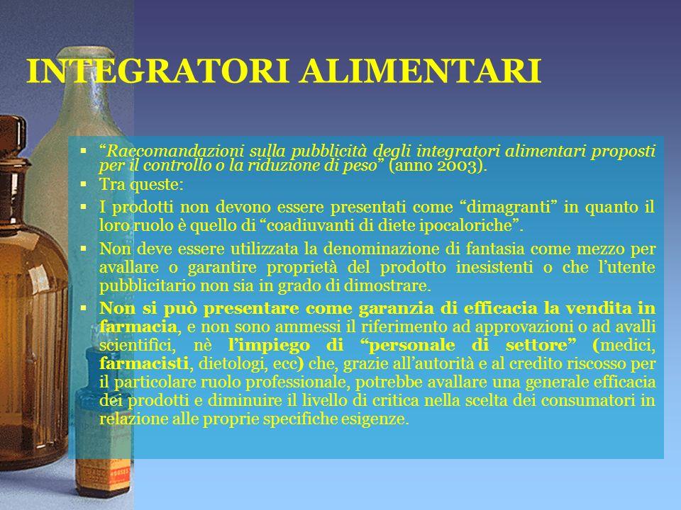 INTEGRATORI ALIMENTARI Raccomandazioni sulla pubblicità degli integratori alimentari proposti per il controllo o la riduzione di peso (anno 2003).