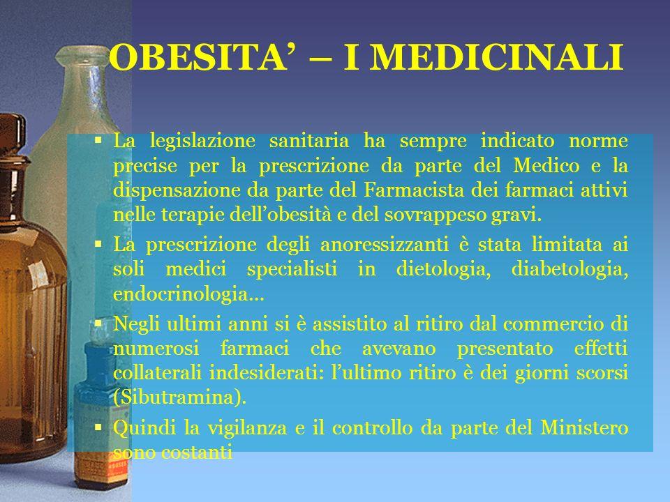 OBESITA – I MEDICINALI La legislazione sanitaria ha sempre indicato norme precise per la prescrizione da parte del Medico e la dispensazione da parte del Farmacista dei farmaci attivi nelle terapie dellobesità e del sovrappeso gravi.