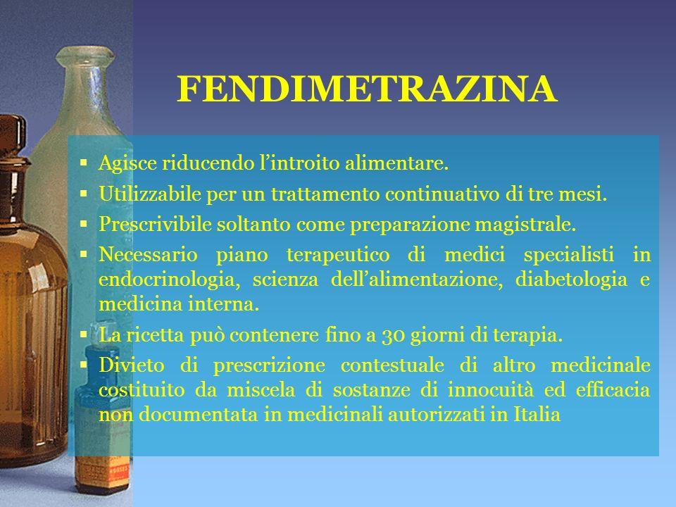 FENDIMETRAZINA Agisce riducendo lintroito alimentare.