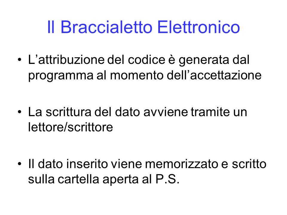 Il Braccialetto Elettronico Lattribuzione del codice è generata dal programma al momento dellaccettazione La scrittura del dato avviene tramite un let