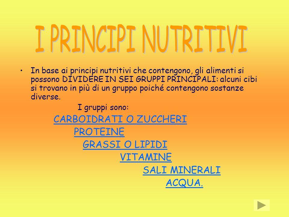 In base ai principi nutritivi che contengono, gli alimenti si possono DIVIDERE IN SEI GRUPPI PRINCIPALI: alcuni cibi si trovano in più di un gruppo po