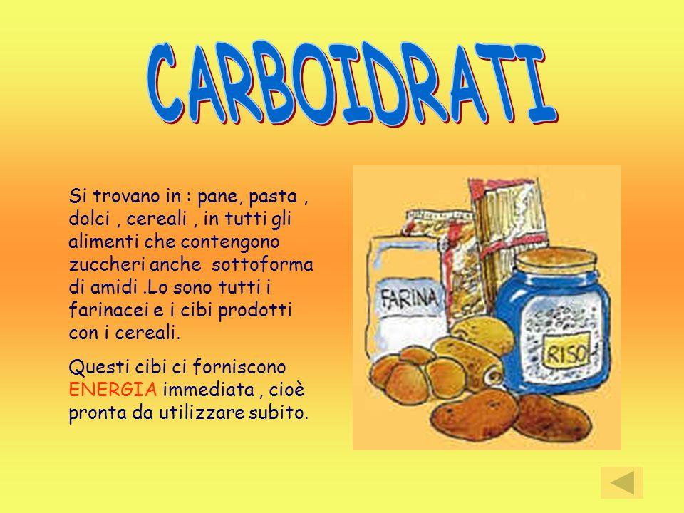 Si trovano in : pane, pasta, dolci, cereali, in tutti gli alimenti che contengono zuccheri anche sottoforma di amidi.Lo sono tutti i farinacei e i cib