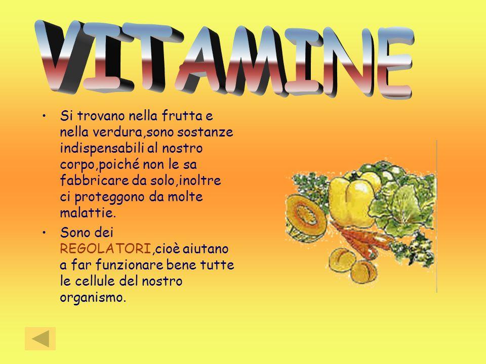 Si trovano nella frutta e nella verdura,sono sostanze indispensabili al nostro corpo,poiché non le sa fabbricare da solo,inoltre ci proteggono da molt