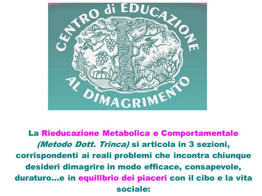 La Rieducazione Metabolica e Comportamentale (Metodo Dott. Trinca) si articola in 3 sezioni, corrispondenti ai reali problemi che incontra chiunque de