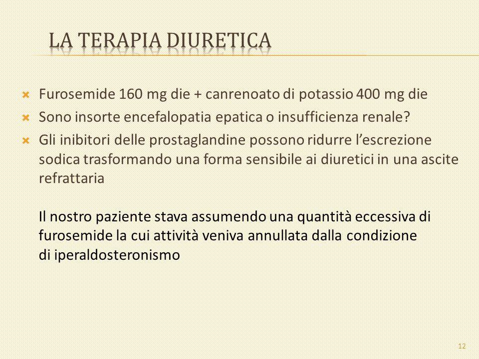 Furosemide 160 mg die + canrenoato di potassio 400 mg die Sono insorte encefalopatia epatica o insufficienza renale? Gli inibitori delle prostaglandin