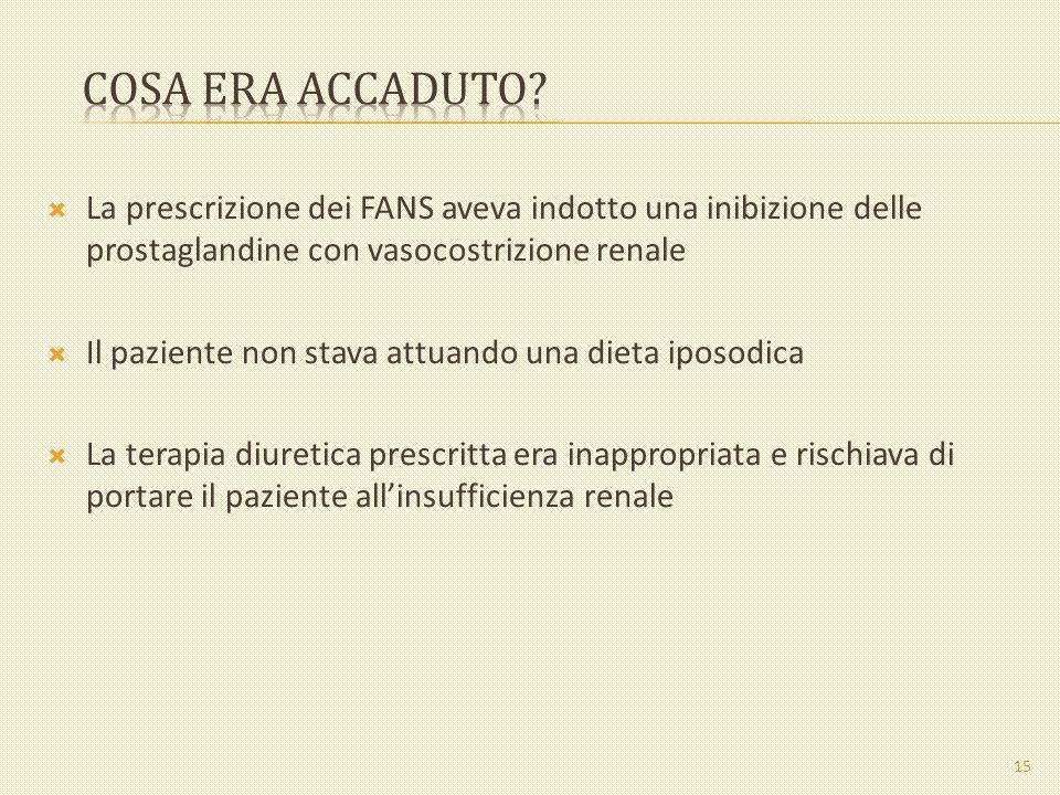 La prescrizione dei FANS aveva indotto una inibizione delle prostaglandine con vasocostrizione renale Il paziente non stava attuando una dieta iposodi