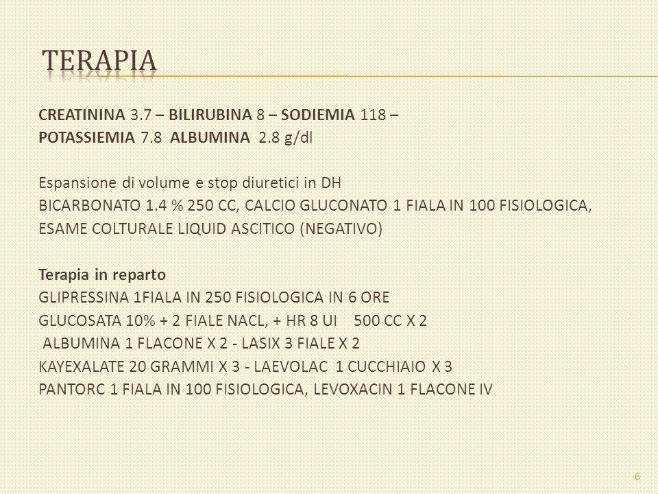 CREATININA 3.7 – BILIRUBINA 8 – SODIEMIA 118 – POTASSIEMIA 7.8 ALBUMINA 2.8 g/dl Espansione di volume e stop diuretici in DH BICARBONATO 1.4 % 250 CC,