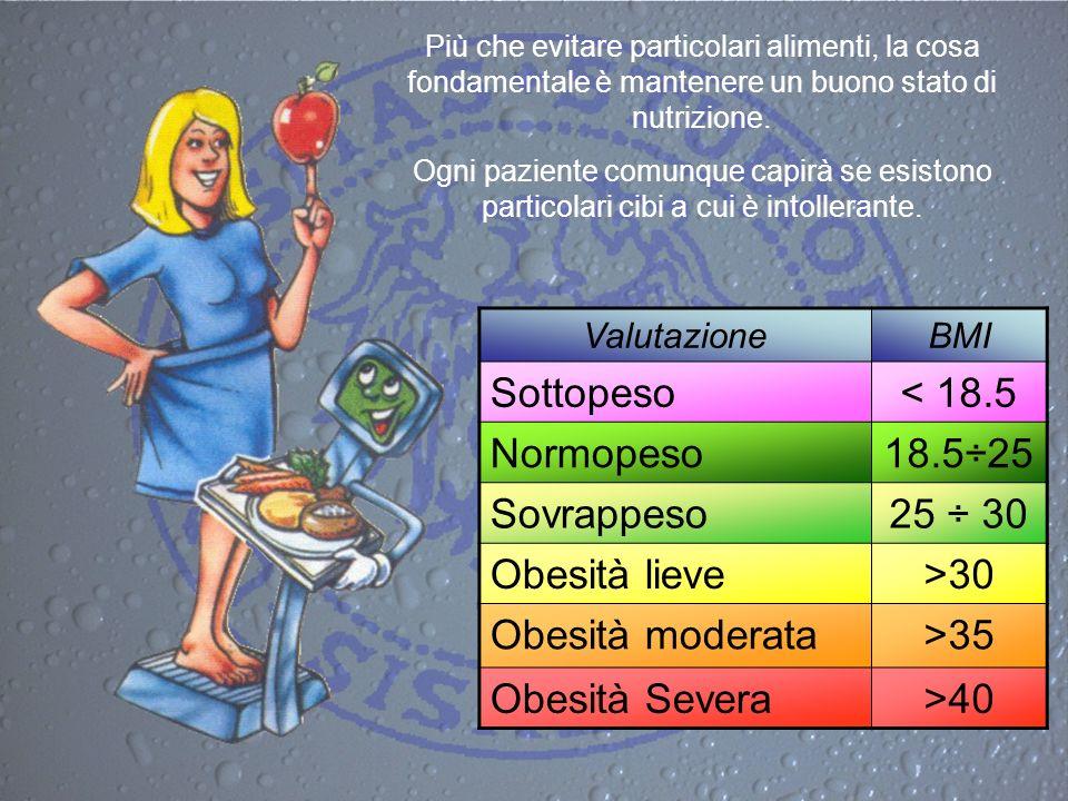 Più che evitare particolari alimenti, la cosa fondamentale è mantenere un buono stato di nutrizione. Ogni paziente comunque capirà se esistono partico