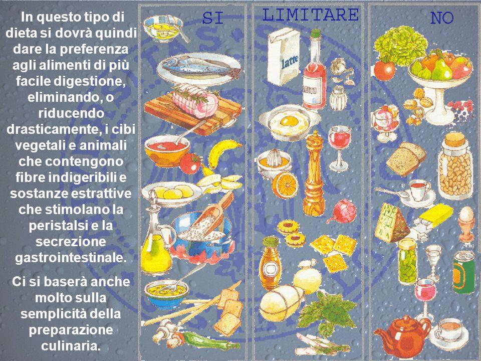 In questo tipo di dieta si dovrà quindi dare la preferenza agli alimenti di più facile digestione, eliminando, o riducendo drasticamente, i cibi veget