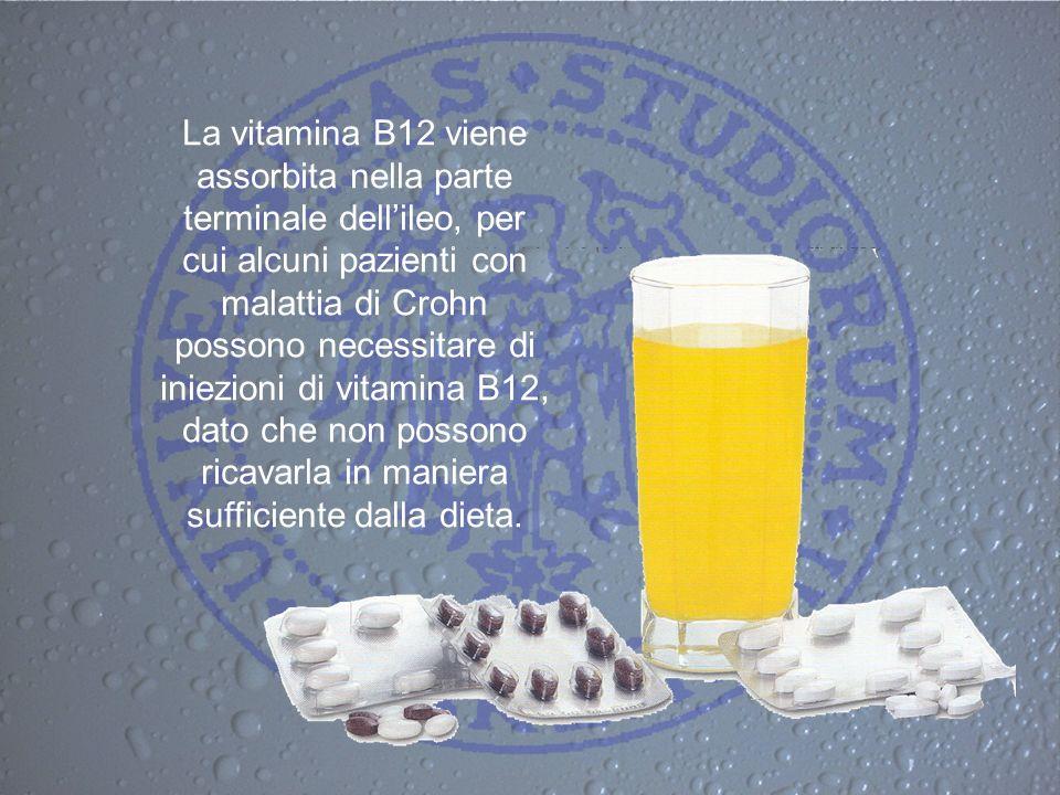 La vitamina B12 viene assorbita nella parte terminale dellileo, per cui alcuni pazienti con malattia di Crohn possono necessitare di iniezioni di vita