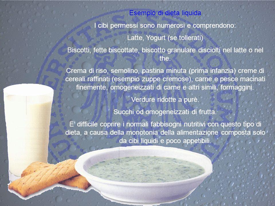 Esempio di dieta liquida I cibi permessi sono numerosi e comprendono: Latte, Yogurt (se tollerati) Biscotti, fette biscottate, biscotto granulare disc