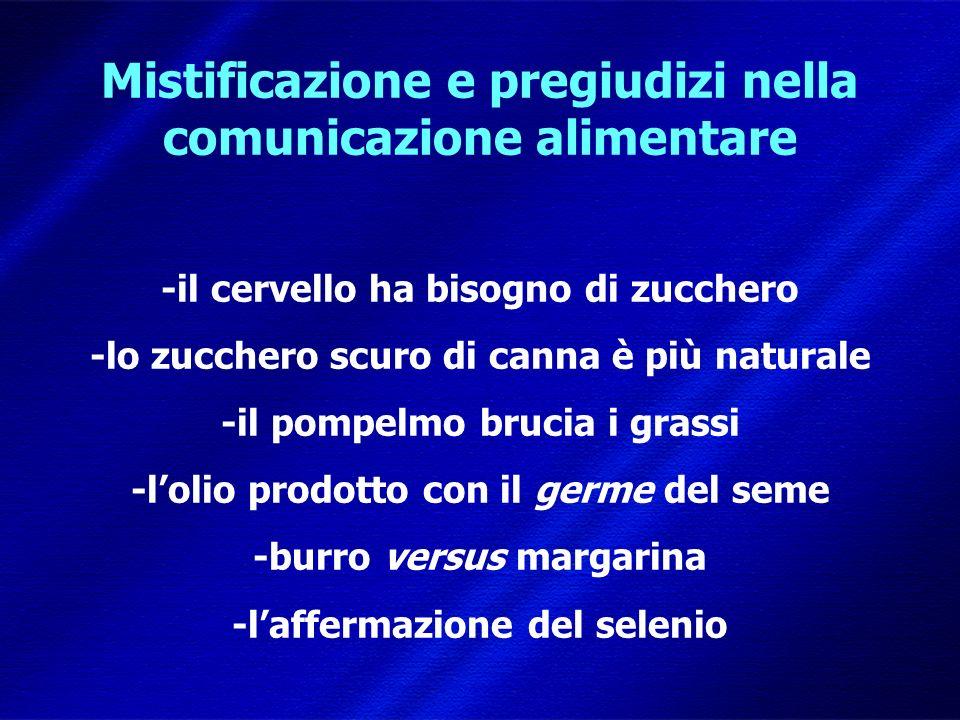 DIMISEM Perugia 2002 Mistificazione e pregiudizi nella comunicazione alimentare -il cervello ha bisogno di zucchero -lo zucchero scuro di canna è più naturale -il pompelmo brucia i grassi -lolio prodotto con il germe del seme -burro versus margarina -laffermazione del selenio