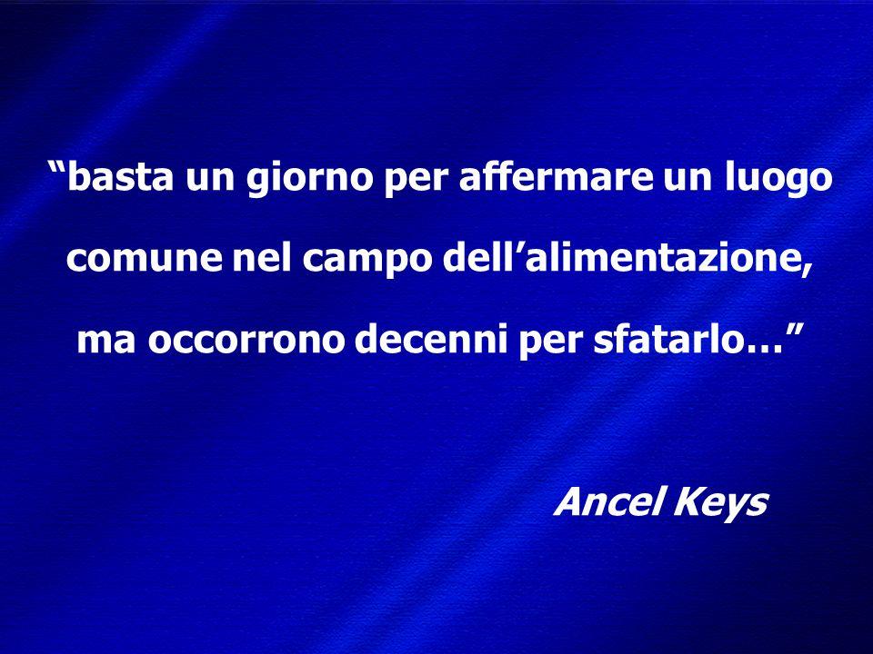 DIMISEM Perugia 2002 basta un giorno per affermare un luogo comune nel campo dellalimentazione, ma occorrono decenni per sfatarlo… Ancel Keys