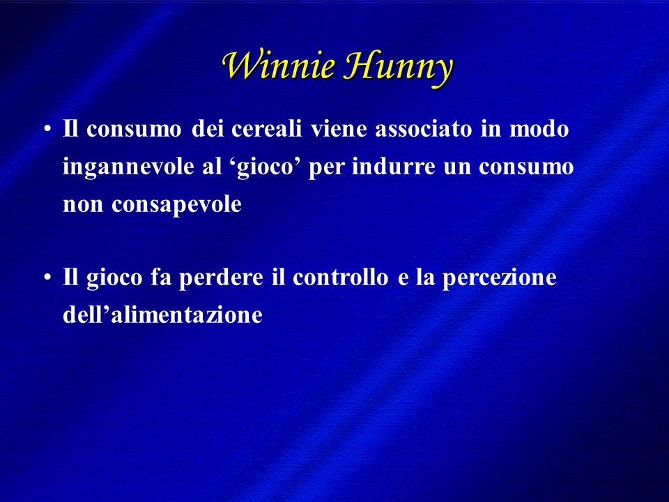 Winnie Hunny Il consumo dei cereali viene associato in modo ingannevole al gioco per indurre un consumo non consapevole Il gioco fa perdere il controllo e la percezione dellalimentazione