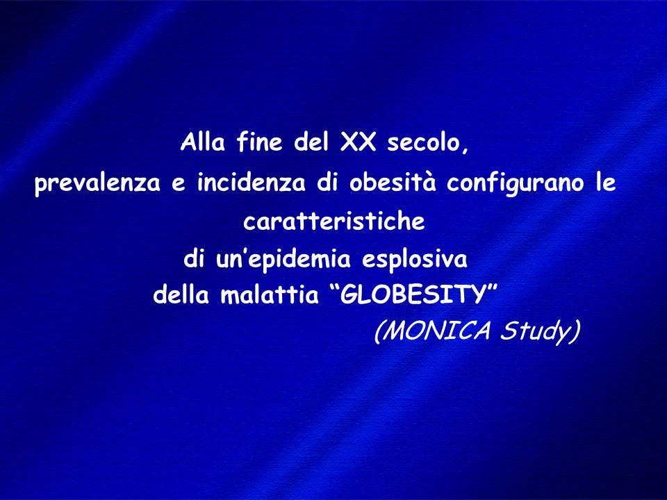 DIMISEM Perugia 2002 Alla fine del XX secolo, prevalenza e incidenza di obesità configurano le caratteristiche di unepidemia esplosiva della malattia GLOBESITY (MONICA Study)
