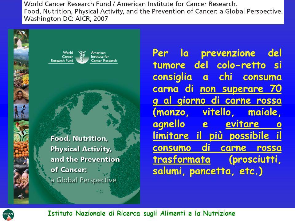 Per la prevenzione del tumore del colo-retto si consiglia a chi consuma carna di non superare 70 g al giorno di carne rossa (manzo, vitello, maiale, a