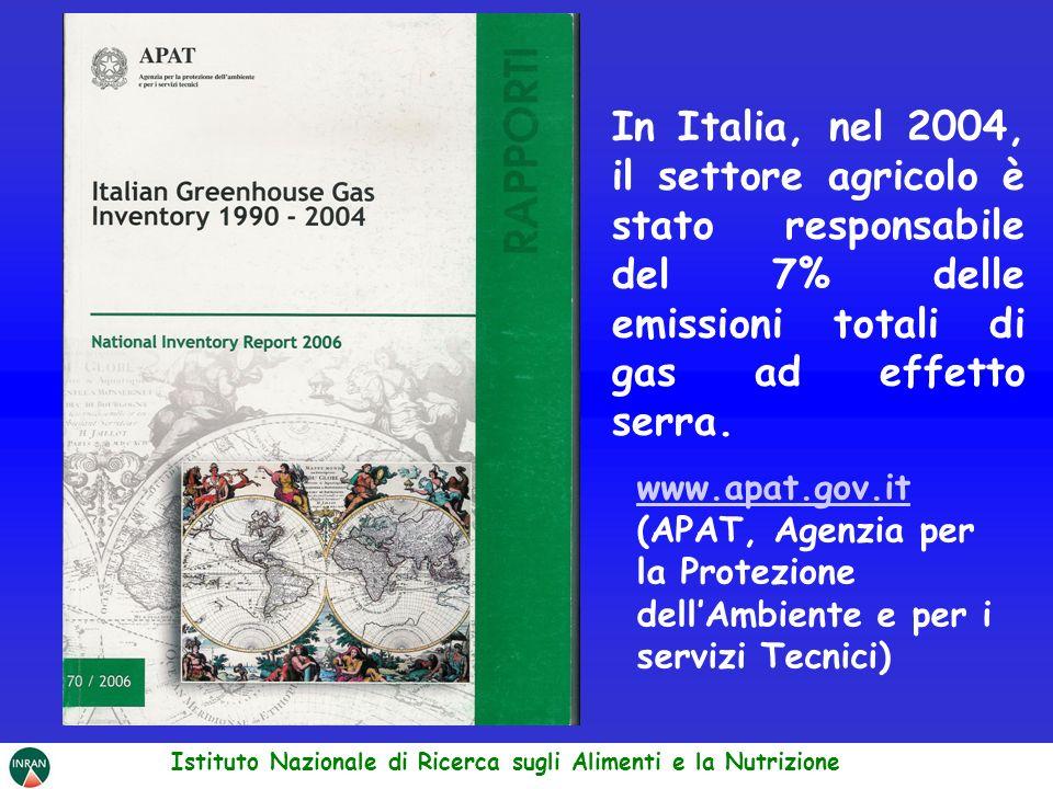 www.apat.gov.it (APAT, Agenzia per la Protezione dellAmbiente e per i servizi Tecnici) In Italia, nel 2004, il settore agricolo è stato responsabile d