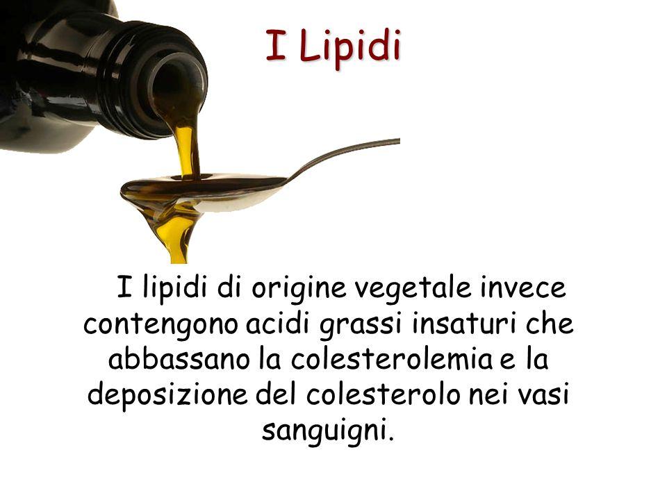 I Lipidi I lipidi di origine vegetale invece contengono acidi grassi insaturi che abbassano la colesterolemia e la deposizione del colesterolo nei vas