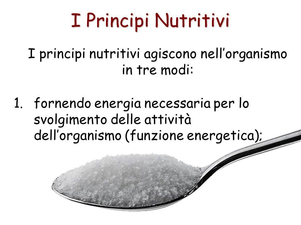I Principi Nutritivi I principi nutritivi agiscono nellorganismo in tre modi: 1.fornendo energia necessaria per lo svolgimento delle attività dellorga
