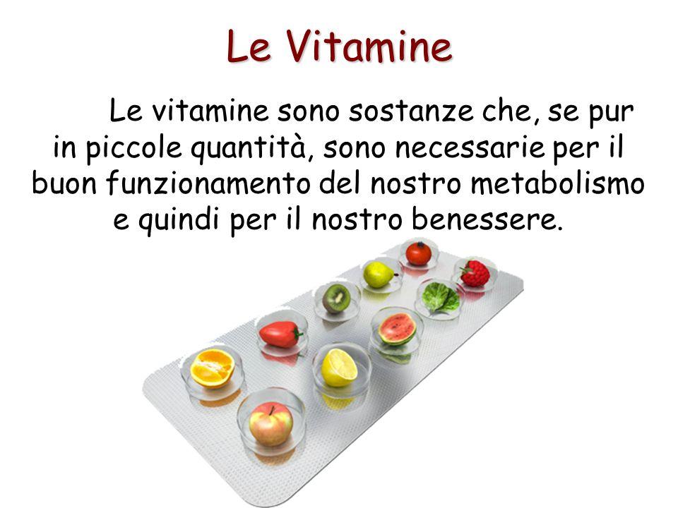 Le Vitamine Le vitamine sono sostanze che, se pur in piccole quantità, sono necessarie per il buon funzionamento del nostro metabolismo e quindi per i