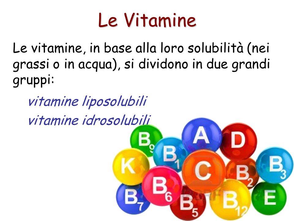 Le Vitamine Le vitamine, in base alla loro solubilità (nei grassi o in acqua), si dividono in due grandi gruppi: vitamine liposolubili vitamine idroso