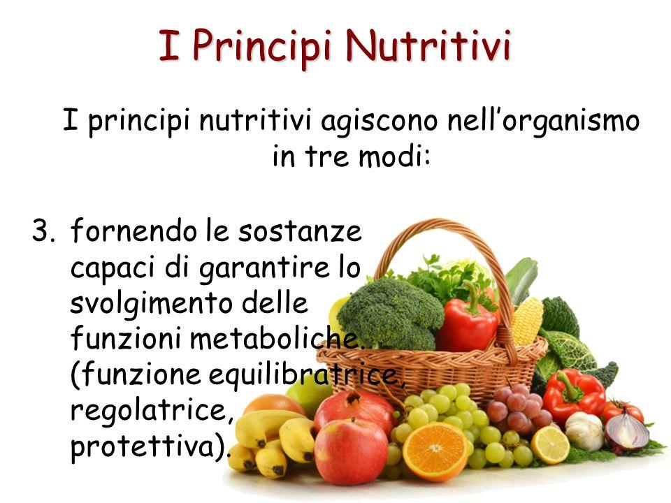 I Principi Nutritivi I principi nutritivi agiscono nellorganismo in tre modi: 3.fornendo le sostanze capaci di garantire lo svolgimento delle funzioni