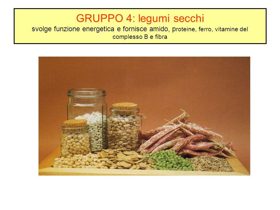 GRUPPO 4: legumi secchi svolge funzione energetica e fornisce amido, p roteine, ferro, vitamine del complesso B e fibra