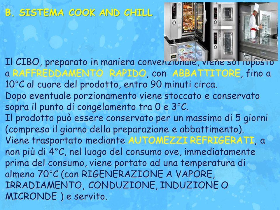 B.SISTEMA COOK AND CHILL Il CIBO, preparato in maniera convenzionale, viene sottoposto a RAFFREDDAMENTO RAPIDO, con ABBATTITORE, fino a 10°C al cuore