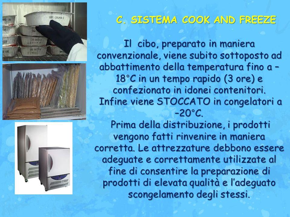 Il cibo, preparato in maniera convenzionale, viene subito sottoposto ad abbattimento della temperatura fino a – 18°C in un tempo rapido (3 ore) e conf