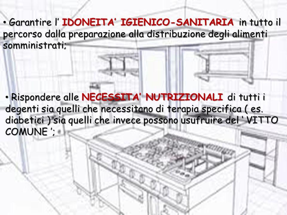 Garantire l IDONEITA IGIENICO-SANITARIA in tutto il percorso dalla preparazione alla distribuzione degli alimenti somministrati; Garantire l IDONEITA