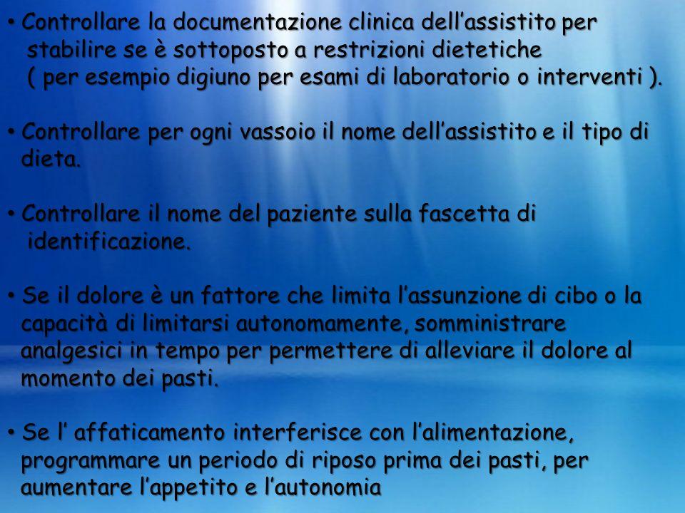 Controllare la documentazione clinica dellassistito per Controllare la documentazione clinica dellassistito per stabilire se è sottoposto a restrizion