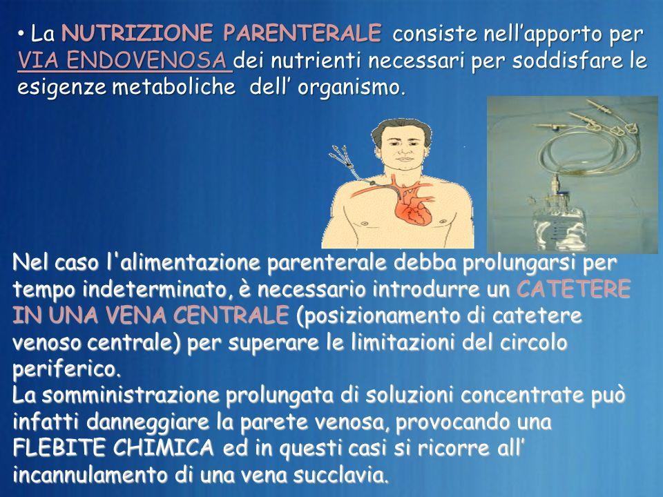 La NUTRIZIONE PARENTERALE consiste nellapporto per VIA ENDOVENOSA dei nutrienti necessari per soddisfare le esigenze metaboliche dell organismo. La NU