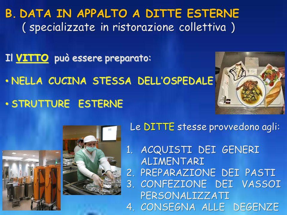 B.DATA IN APPALTO A DITTE ESTERNE ( specializzate in ristorazione collettiva ) ( specializzate in ristorazione collettiva ) Il VITTO può essere prepar