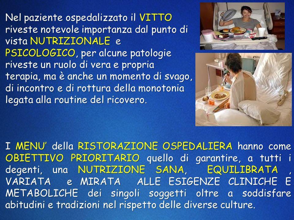 Nel paziente ospedalizzato il VITTO riveste notevole importanza dal punto di vista NUTRIZIONALE e PSICOLOGICO, per alcune patologie riveste un ruolo d