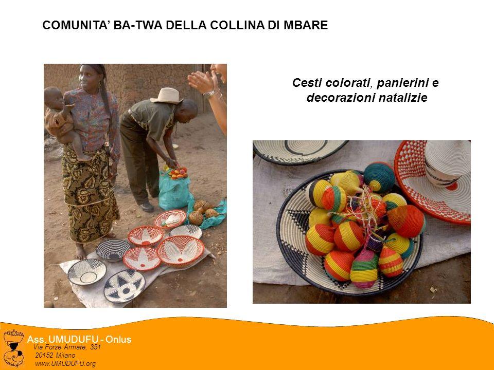 Ass. UMUDUFU - Onlus Via Forze Armate, 351 20152 Milano www.UMUDUFU.org Cesti colorati, panierini e decorazioni natalizie COMUNITA BA-TWA DELLA COLLIN